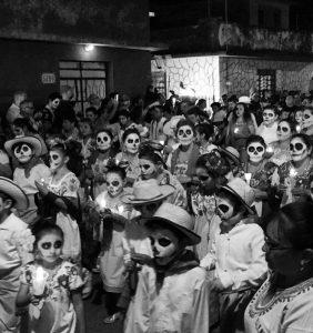 Procession on día de los muertos in Mexico