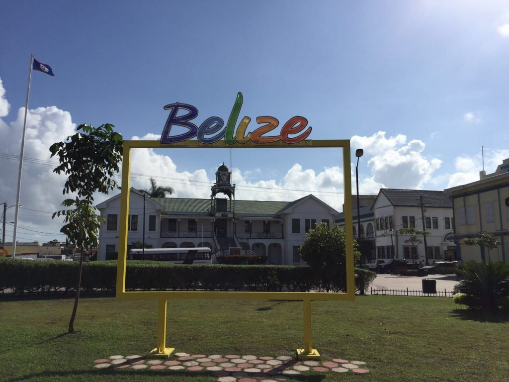 Belize sign in the centre of Belize City.