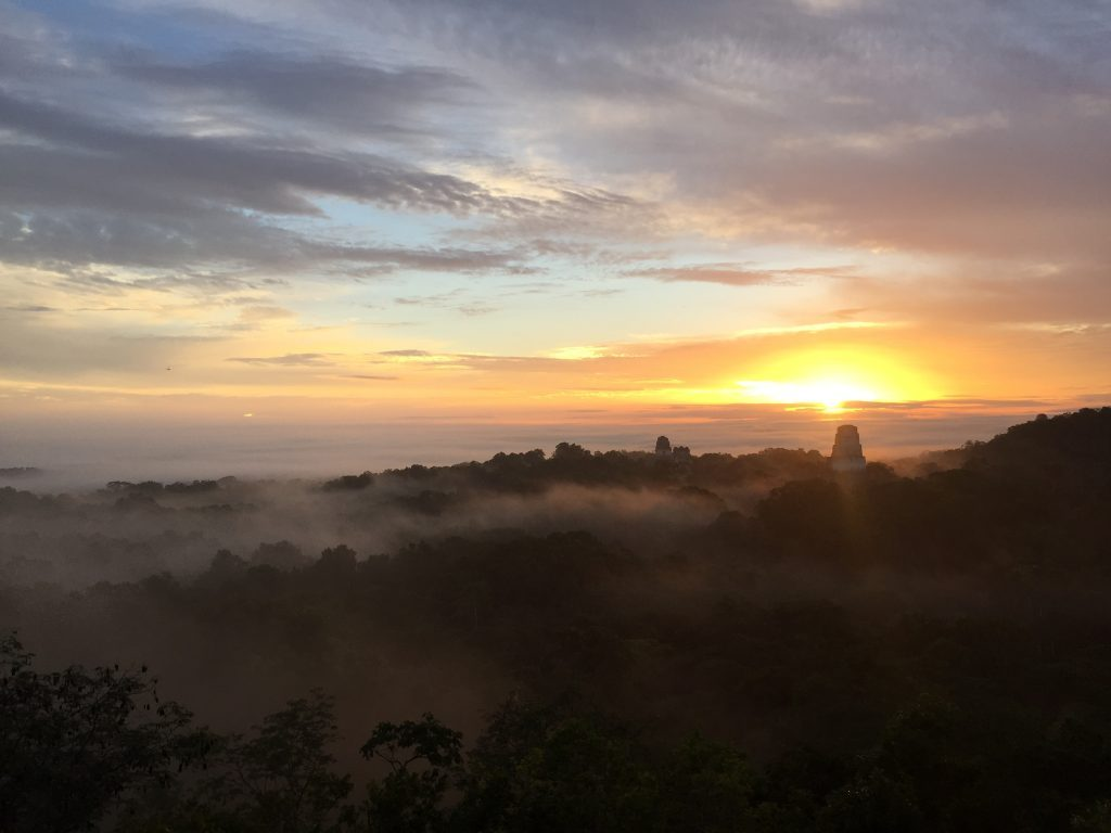 Sunrise as seen from the Mayan pyramid in Tikal